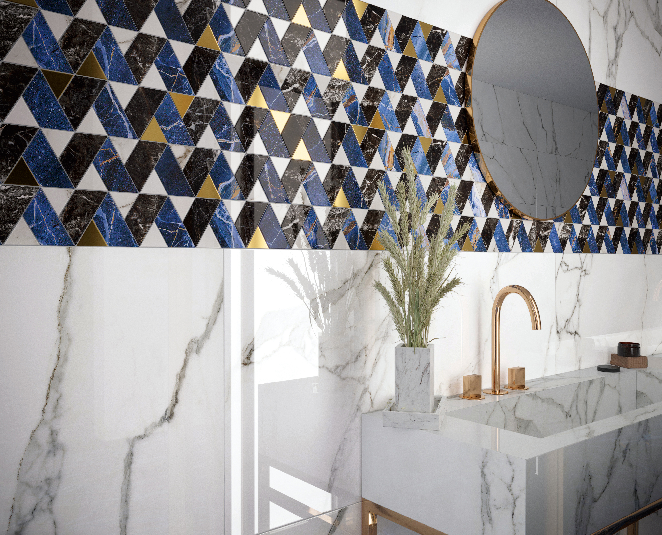Elara Blue Mosaic and White Field Tile