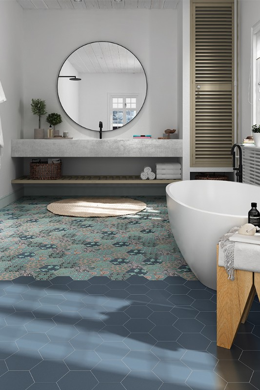 Laguna-Mix Deco, Field Tile in Navy