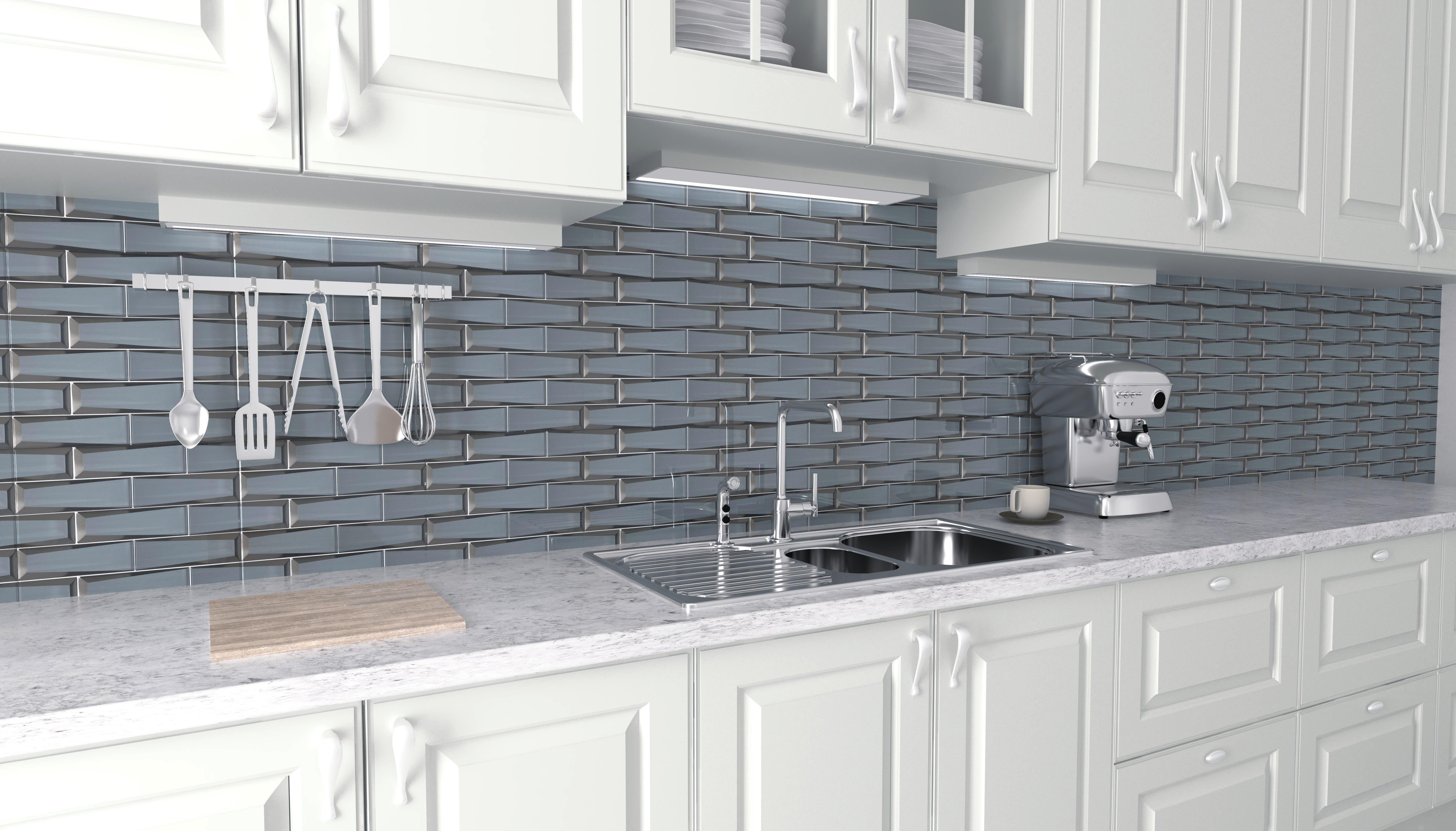 beveled glass tile backsplash to add style and interest to